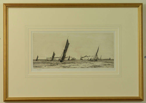 An etching by W.L. Wyllie of fishing boats returning to Portsmouth Harbour