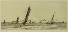 Load image into Gallery viewer, A signed etching by William Lionel Wyllie of the fishing fleet returning to Portsmouth