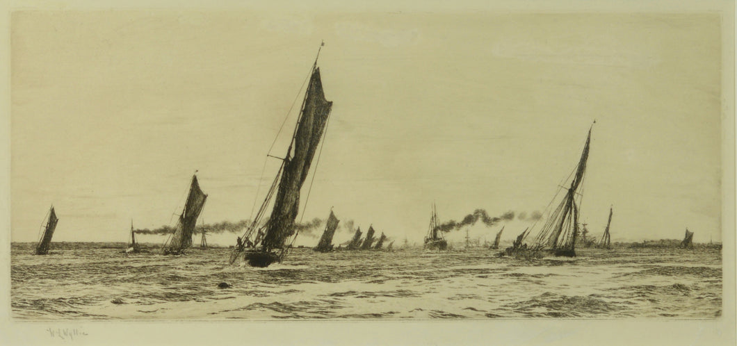 A signed etching by William Lionel Wyllie of the fishing fleet returning to Portsmouth
