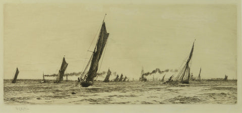 The Return of the Fishing Fleet - signed etching by W.L. Wyllie