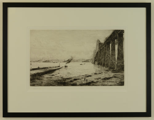 The Forth Bridge, with the American Fleet, 1918 - Signed Etching by W.L. Wyllie