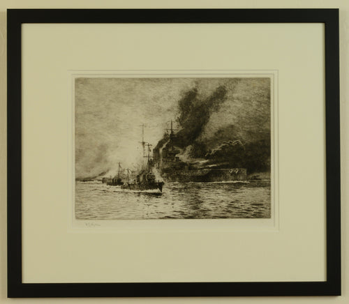 HMS Queen Elizabeth at the Dardanelles - signed etching by W.L. Wyllie