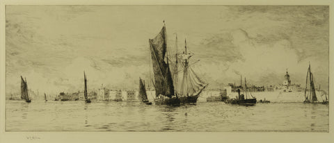 Etching by W.L. Wyllie RA (1851-1931) - Hot Walls, Old Portsmouth