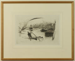 Signed Etching by W.L. Wyllie of Lightermen at London Bridge