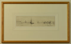 Signed Etching by W.L. Wyllie of Naval shipping at the mouth of Portsmouth Harbour