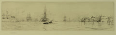 Naval shipping at the mouth of Portsmouth Harbour - signed etching by W.L.Wyllie