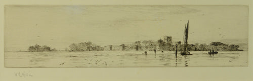 A signed etching by William Lionel Wyllie depicting bait diggers at Portchester Castle