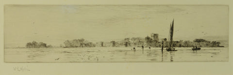 Etching by W.L. Wyllie RA (1851-1931) - Bait Diggers at Portchester