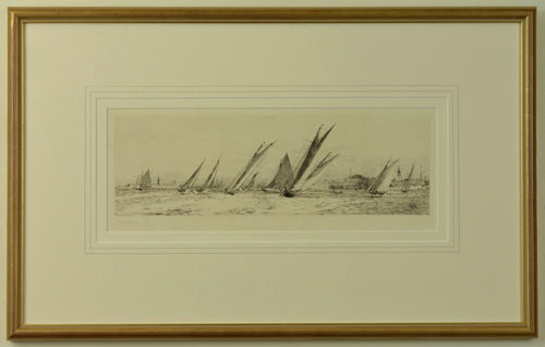 An etching by W.L. Wyllie depicting racing yachts off Old Portsmouth