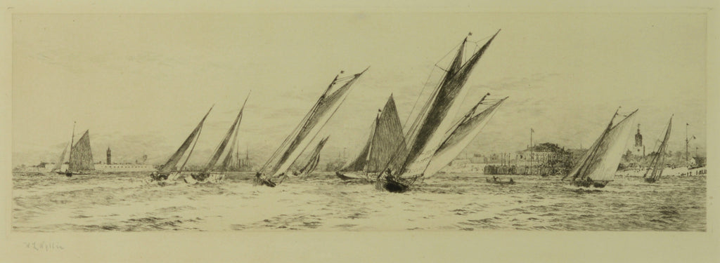 Etching by W.L. Wyllie RA (1851-1931) - Racing Yachts off Old Portsmouth