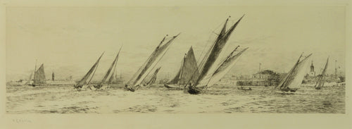 A signed etching by William Lionel Wyllie depicting racing yachts off Clarence Pier, Old Portsmouth