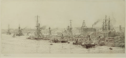 Signed Etching by W.L. Wyllie RA (1851-1931) - Rebuilding the Semaphore Tower, HM Dockyard Portsmouth