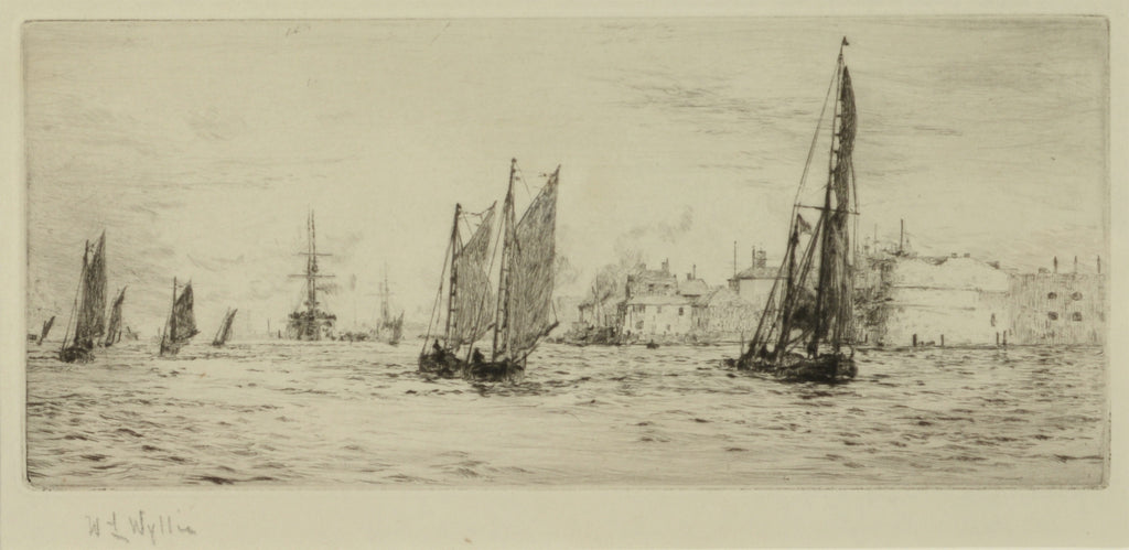 Signed Etching by W.L. Wyllie RA (1851-1931) - Shipping and craft off the Round Tower