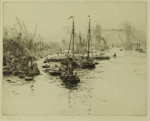 Dutch Eel Schuits Moored upstream of Tower Bridge, London - signed etching by W.L. Wyllie