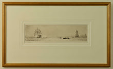 Load image into Gallery viewer, An etching by W.L. Wyllie depicting HMS Victory firing a salute in Portsmouth Harbour