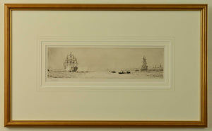 An etching by W.L. Wyllie depicting HMS Victory firing a salute in Portsmouth Harbour