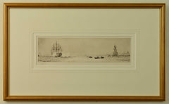Signed Etching by W.L. Wyllie of HMS Victory firing a salute on Trafalgar Day