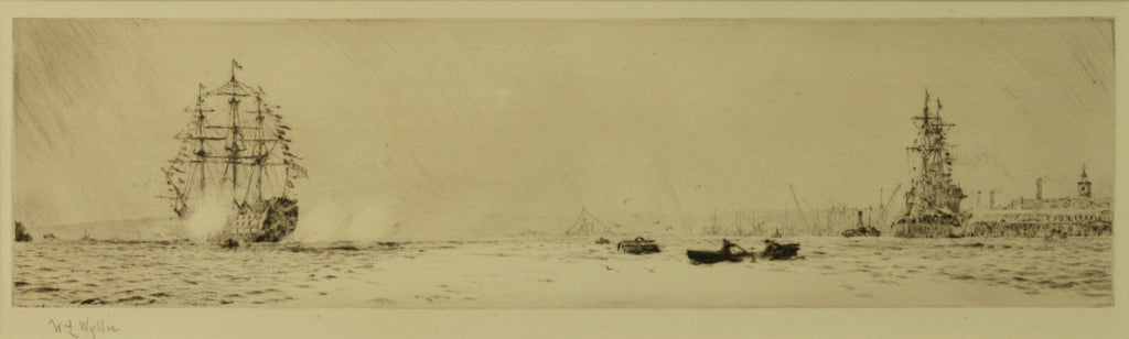 HMS Victory firing a salute - signed etching by W.L. Wyllie