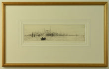 Load image into Gallery viewer, An etching by W.L. Wyllie depicting the White Star liners Majestic and Oceanic docked at Southampton