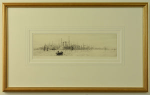 An etching by W.L. Wyllie depicting the White Star liners Majestic and Oceanic docked at Southampton