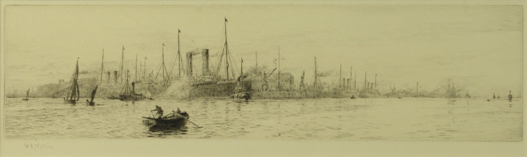 A signed etching by William Lionel Wyllie depicting the White Star liners HMS Oceanic and Majestic at Southampton