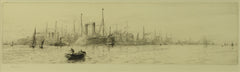 White Star Liners Oceanic and Majestic at Southampton - signed etching by W.L. Wyllie