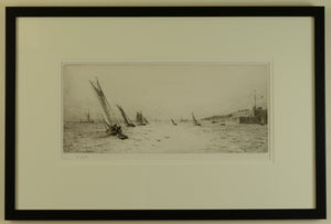 Looking west along the Solent with Fort Blockhouse - Signed Etching by W.L. Wyllie