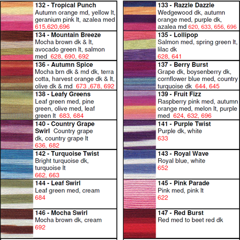 Lizbeth® Thread by Color 132 to 147