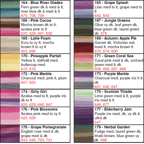 Lizbeth® Thread by Color 164 to 179