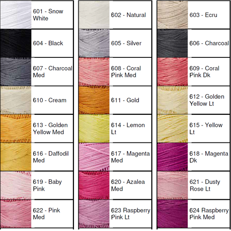 Lizbeth® Thread by Color 601 to 624