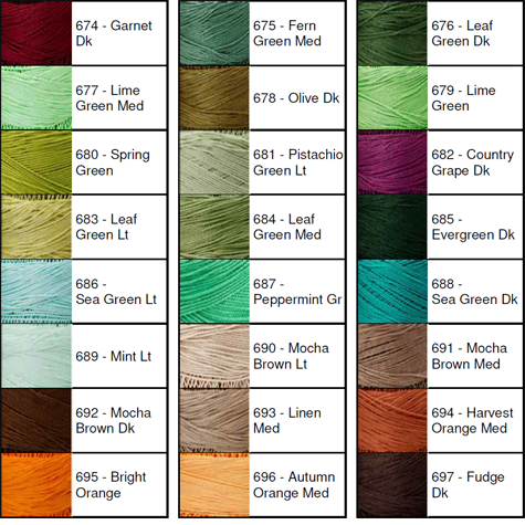 Lizbeth® Thread by Color 674 to 697