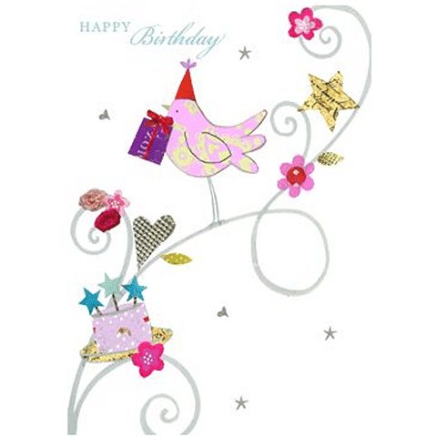 Bird and Cake Birthday Card - Cotswold Jewellery