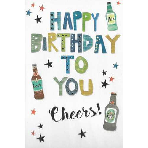 Happy Birthday to you Cheers Birthday Card - Cotswold Jewellery