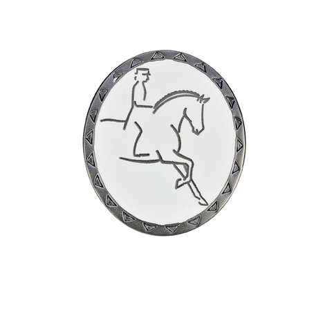Dressage Rider and Horse Oval Stockpin - Cotswold Jewellery