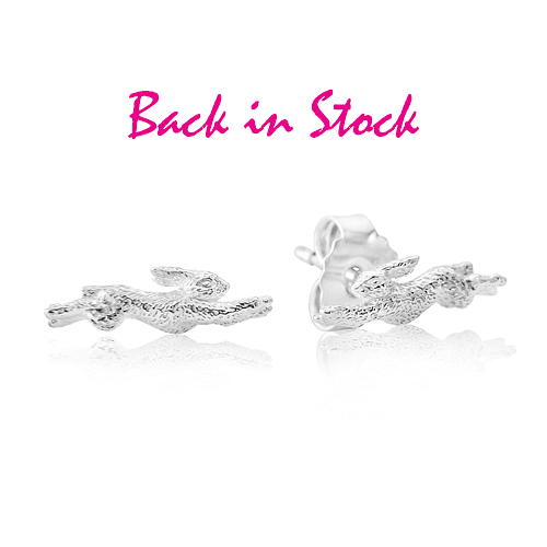 Hare Sterling Silver Stud Earrings