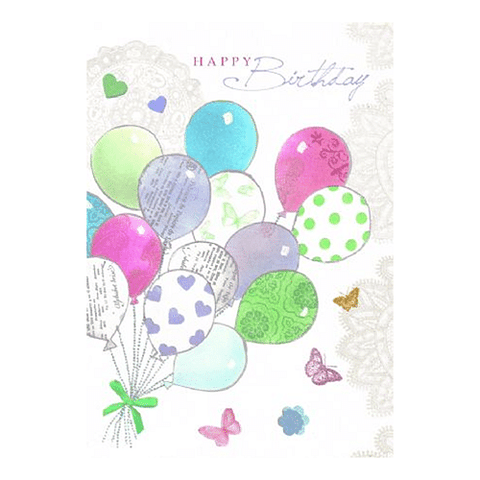 Happy Birthday Balloons Birthday Card - Cotswold Jewellery