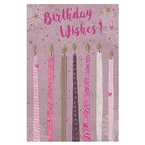 Candles Birthday Wishes Greetings Card - Cotswold Jewellery