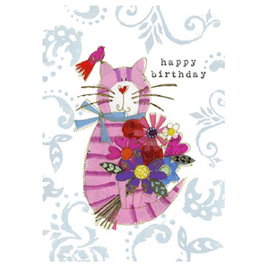 Cat with Bird Birthday Card - Cotswold Jewellery