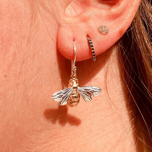 Queen-bee-stelring-silver-and-gold-earrings