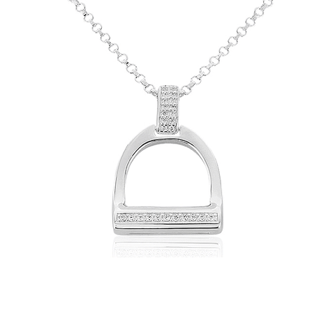 Large Sparkly Stirrup Pendant - Cotswold Jewellery