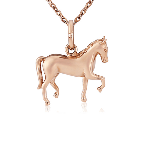 Rose Gold Dressage Horse Pendant - Cotswold Jewellery