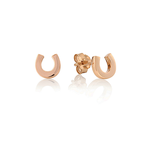 Rose Gold Horseshoe Stud Earrings - Cotswold Jewellery