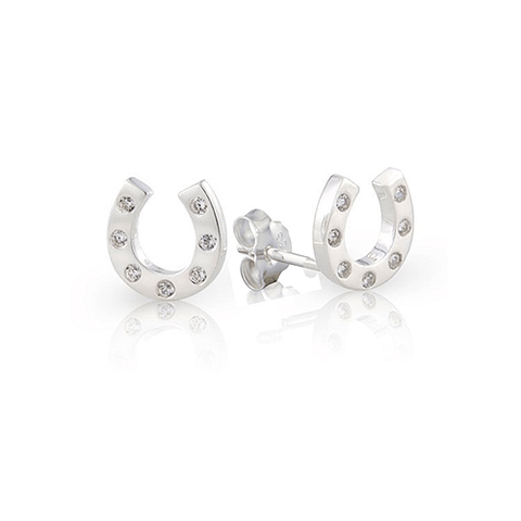 Sparkly Horse Shoe Stud Earrings - Cotswold Jewellery