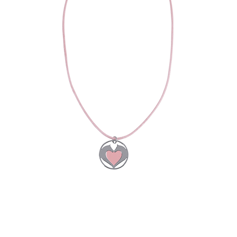 Horse Hearts Pink Satin Necklace - Cotswold Jewellery