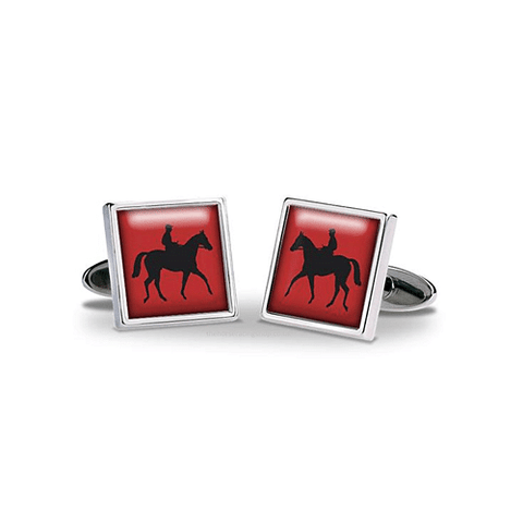 Square Black Horse Red Background Cufflinks - Cotswold Jewellery