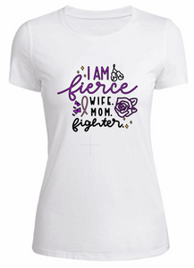 Wife. Mom. Fighter. - Ladies T-Shirt