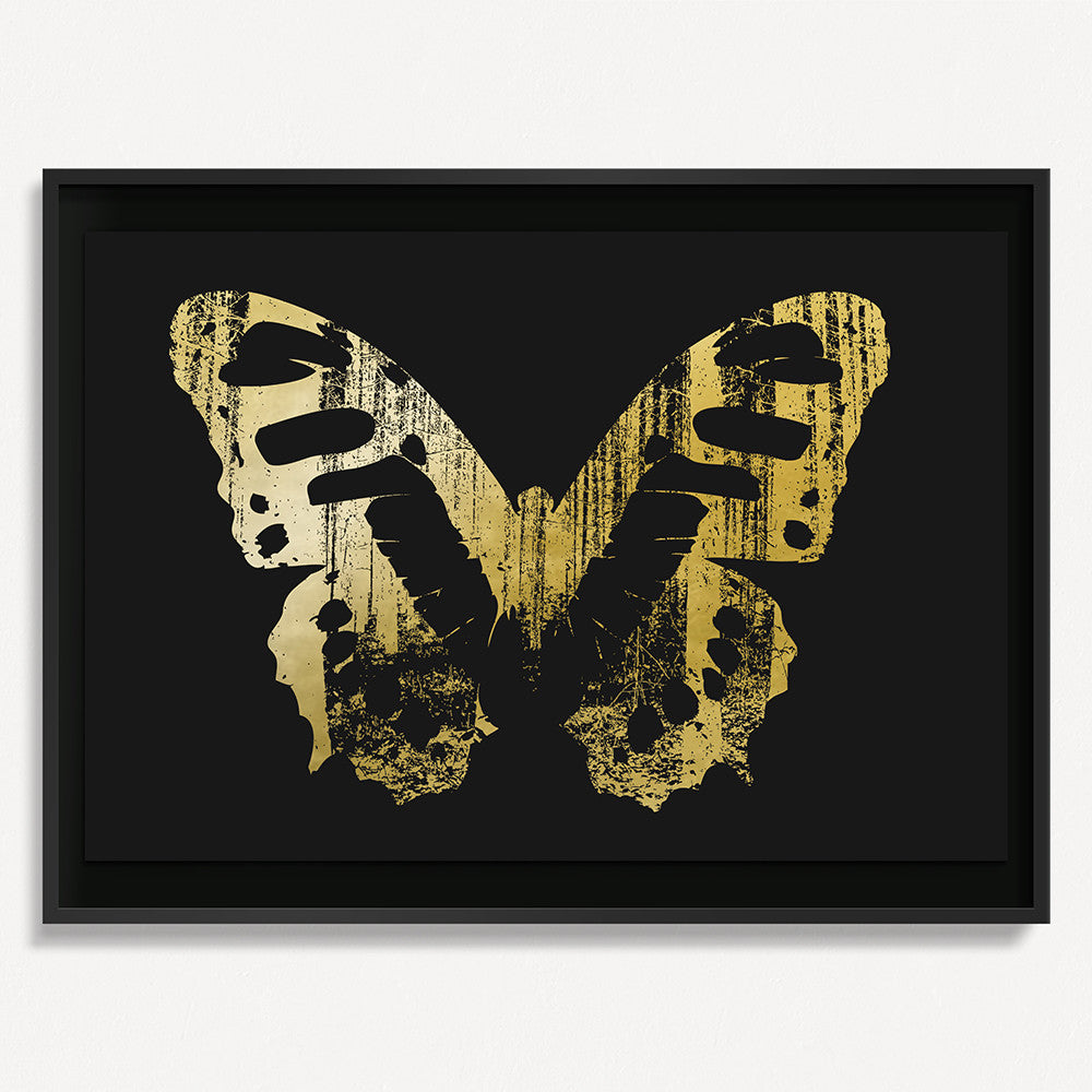 Butterfly with Forest Wings 1 - Gold on Black