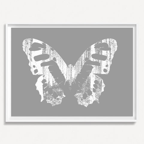 Butterfly with Forest Wings 1 - Gray