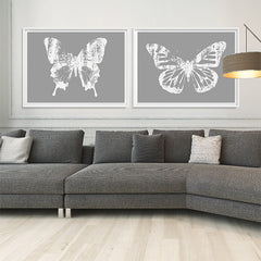Butterfly with Forest Wings 3 - Gray