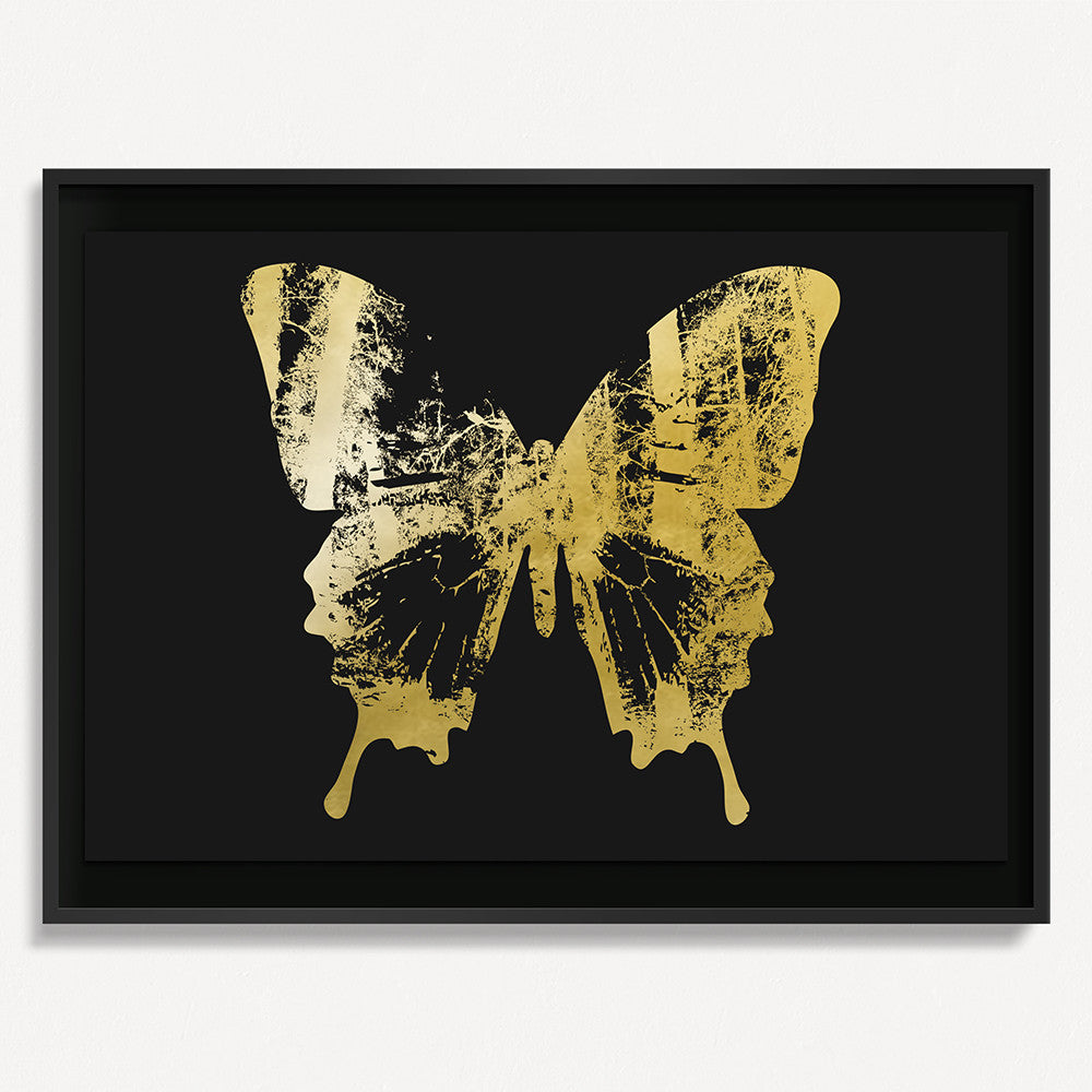 Butterfly with Forest Wings 2 - Gold on Black
